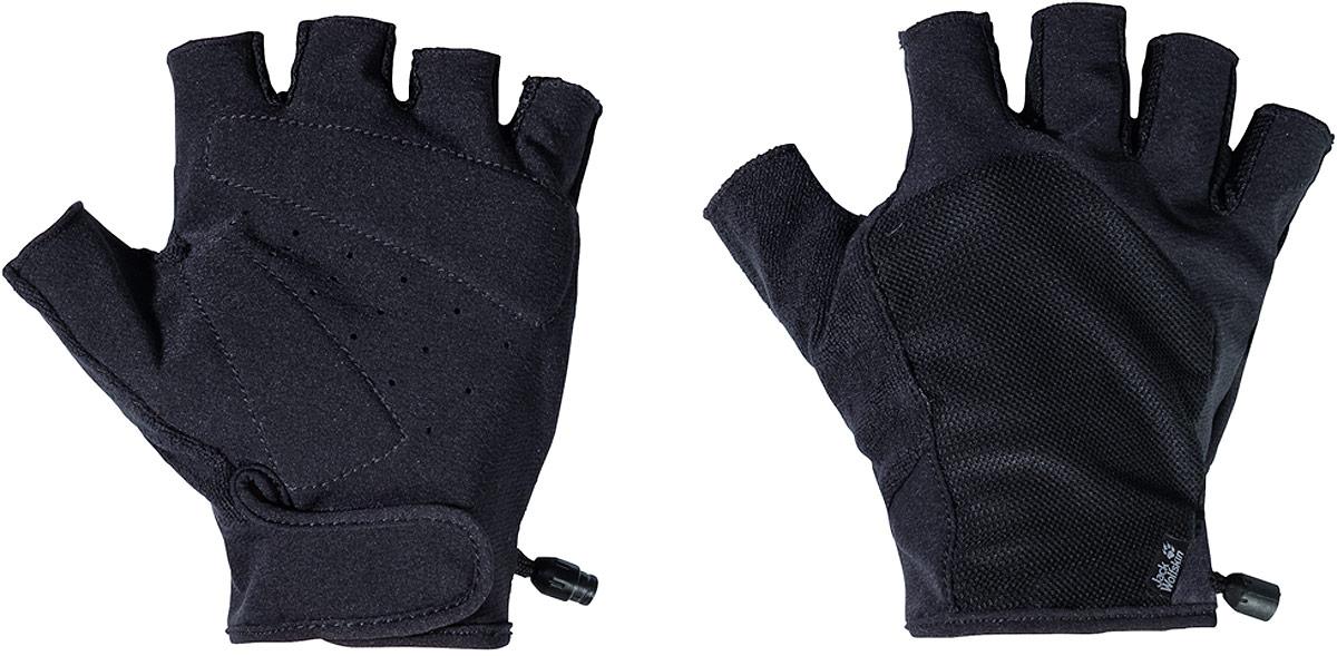 Перчатки Jack Wolfskin Dynamic Short Glove, цвет: черный. 1906741-6000. Размер M (21,5/23)1906741-6000Идеальные перчатки для горных видов спорта и езды на велосипеде в любую погоду. Софтшельные перчатки Dynamic Short Glove выполнены из прочного и удобного материала и защищают ваши руки от ветра и дождя. Ткань отлично дышит и быстро отводит влагу, поэтому ваши руки остаются сухими, как того требуют занятия с интенсивной нагрузкой. Дышащая сетчатая ткань задней части обеспечивает превосходную вентиляцию. Перчатки оснащены противоскользящими накладками на ладонях, обеспечивающими дополнительную безопасность. А еще они очень эластичные и принимают форму ваших рук.