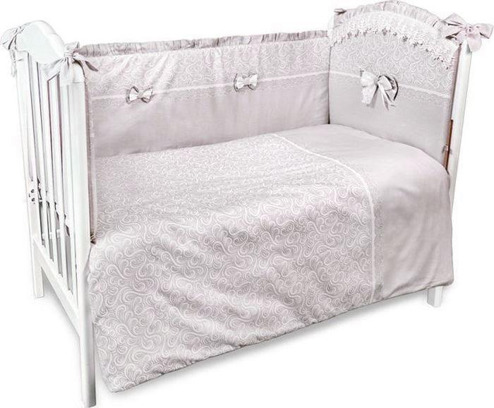 Сонный гномик Бортик для кроватки Версаль цвет темно-бежевый 4 части -  Бортики, бамперы