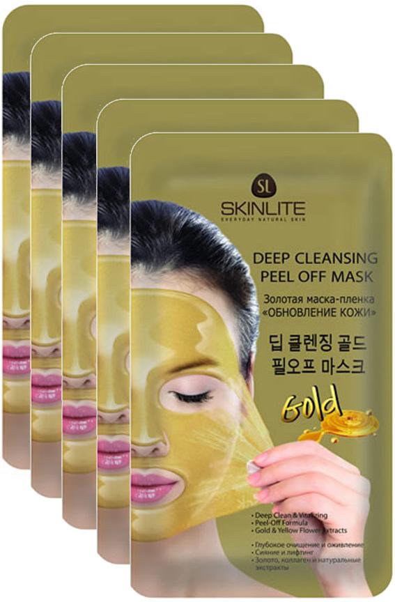 Skinlite Золотая маска-пленка Обновление кожи, 5 штSL-295Золотая маска-пленка Обновление кожи Глубокое очищение и оживлениеСияние и лифтинг Золото, коллаген и натуральные экстрактыМаска для лица и шеи превосходно, но, в тоже время, деликатно очищает эпидермис от токсинов, омертвевших клеток и излишков кожного себума. Восстанавливает клеточное дыхание, сужает расширенные поры, выравнивает рельеф кожи.24-каратное золото обогащает каждую клетку кожи на молекулярном уровне, восстанавливает процесс регенерации верхних слоев дермы. Экстракты примулы вечерней, календулы, аниса, хризантемы и меда оказывают смягчающее, увлажняющее и противовоспалительное действие, а коллаген помогает бороться с образованием морщин, делает кожу более упругой и эластичной.Благодаря плотному прилеганию маски активные компоненты проникают в глубокие слои кожи, а формула пленки собирает на себя все излишки жира, токсинов и отмерших клеток, делая кожу ровной, гладкой и красивой.
