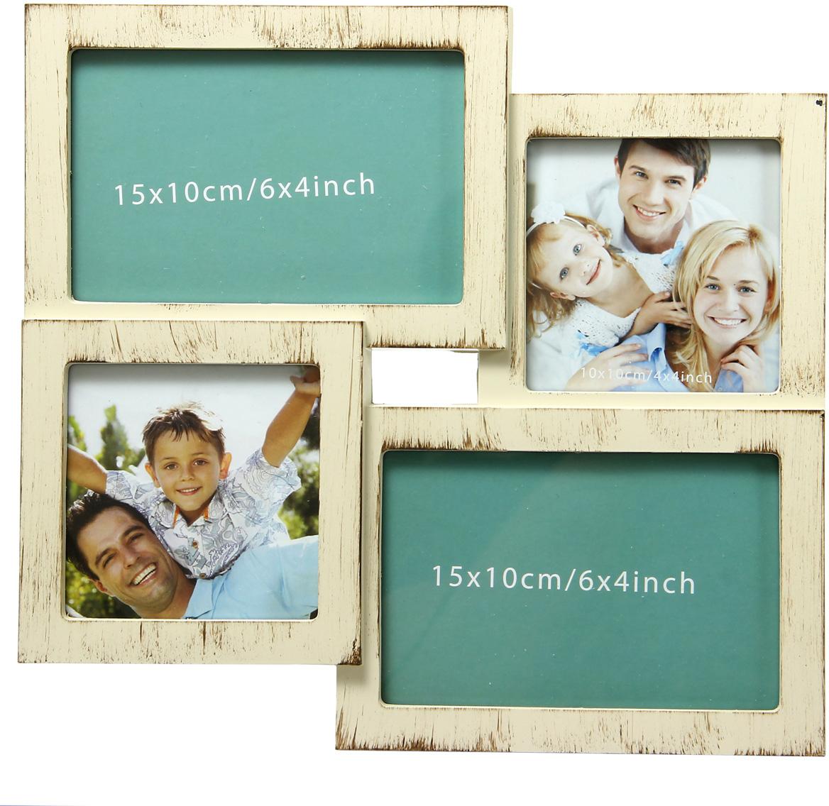Фоторамка украсит интерьер помещения оригинальным образом и позволит сохранить на память изображения дорогих вам людей и интересных событий вашей жизни. Фоторамка-коллаж представляет собой 4 фоторамки для фото оригинально соединенных между собой.  Фоторамка подходит для 2 фотографий 10 х 15 см и 2 фотографий 10 х 10 см.