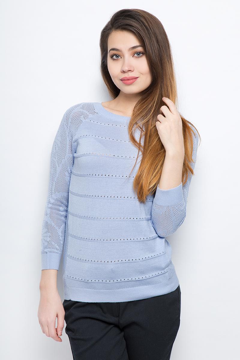 Джемпер женский Sela, цвет: голубой. JR-114/688-8111. Размер XS (42) джемпер женский sela цвет коралловый jr 114 1089 8111 размер xl 50