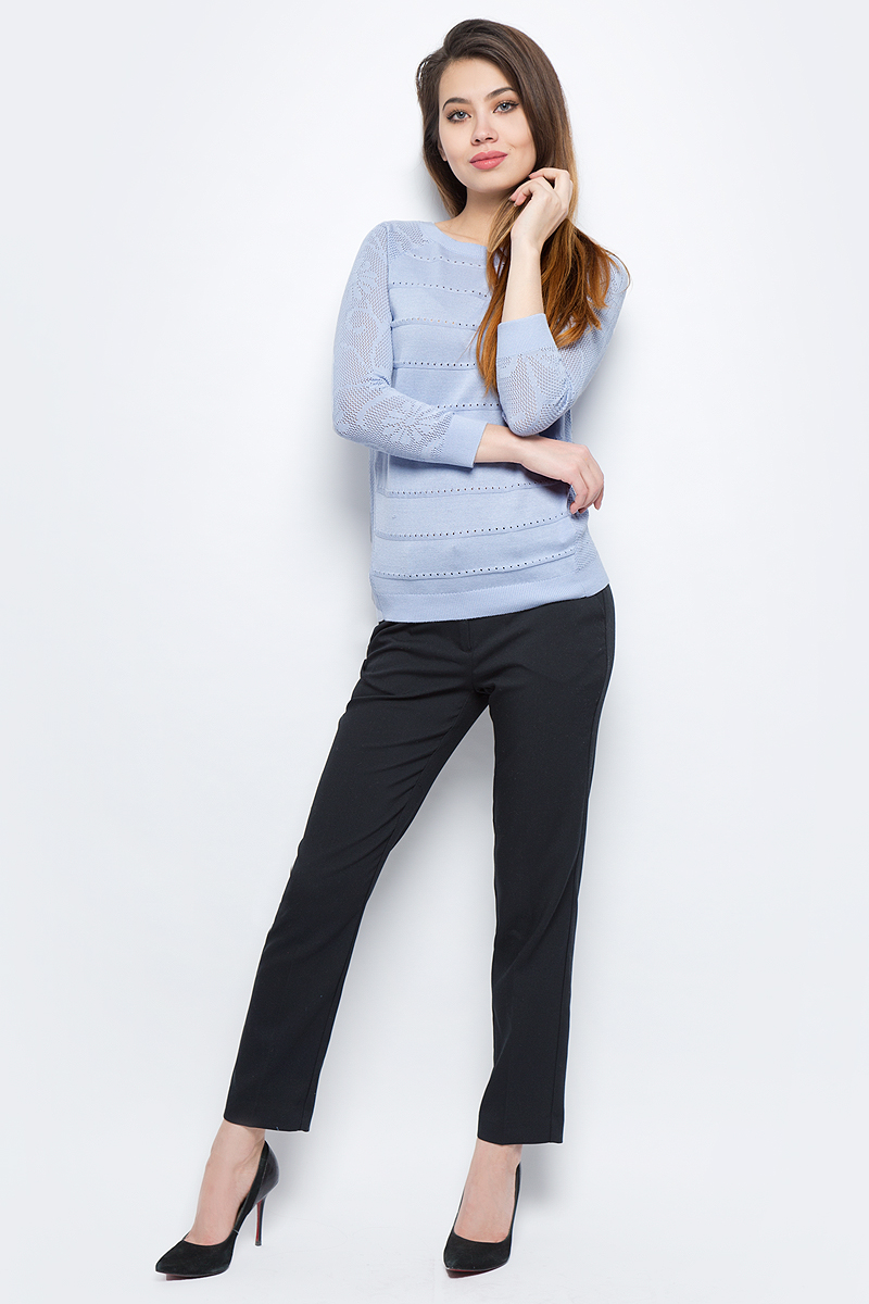 Джемпер женский Sela, цвет: голубой. JR-114/688-8111. Размер XL (50)JR-114/688-8111Стильный женский джемпер Sela выполнен из хлопка с добавлением вискозы.Модель прямого кроя с круглым вырезом горловины.
