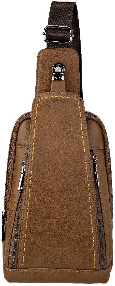Сумка через плечо мужская Vera Victoria Vito, цвет: коричневый. 35-627-6