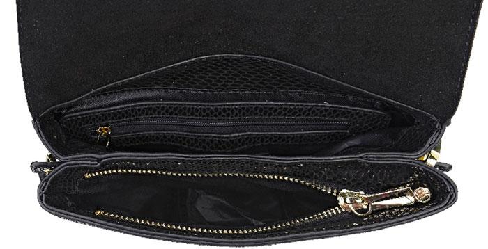 Сумка на плечо женская Vera Victoria Vito, цвет: черный. 36-700-136-700-1Компактная сумочка через плечо от Vera Victoria Vito обязательно понравится стильным модницам. Изделие изготовлено из блестящей натуральной кожи высокого качества со змеиным принтом и выглядит дорого и роскошно. Несмотря на небольшой размер, в нее уберется множество необходимых мелочей. Модель имеет клапан на магнитах и оснащена отстегивающимся длинным ремешком. Внутри два отделения, одно из которых на молнии, кармашек на молнии и для телефона. С внешней стороны карман на кнопке. Такая сумка произведет впечатление и подойдет к современному образу.