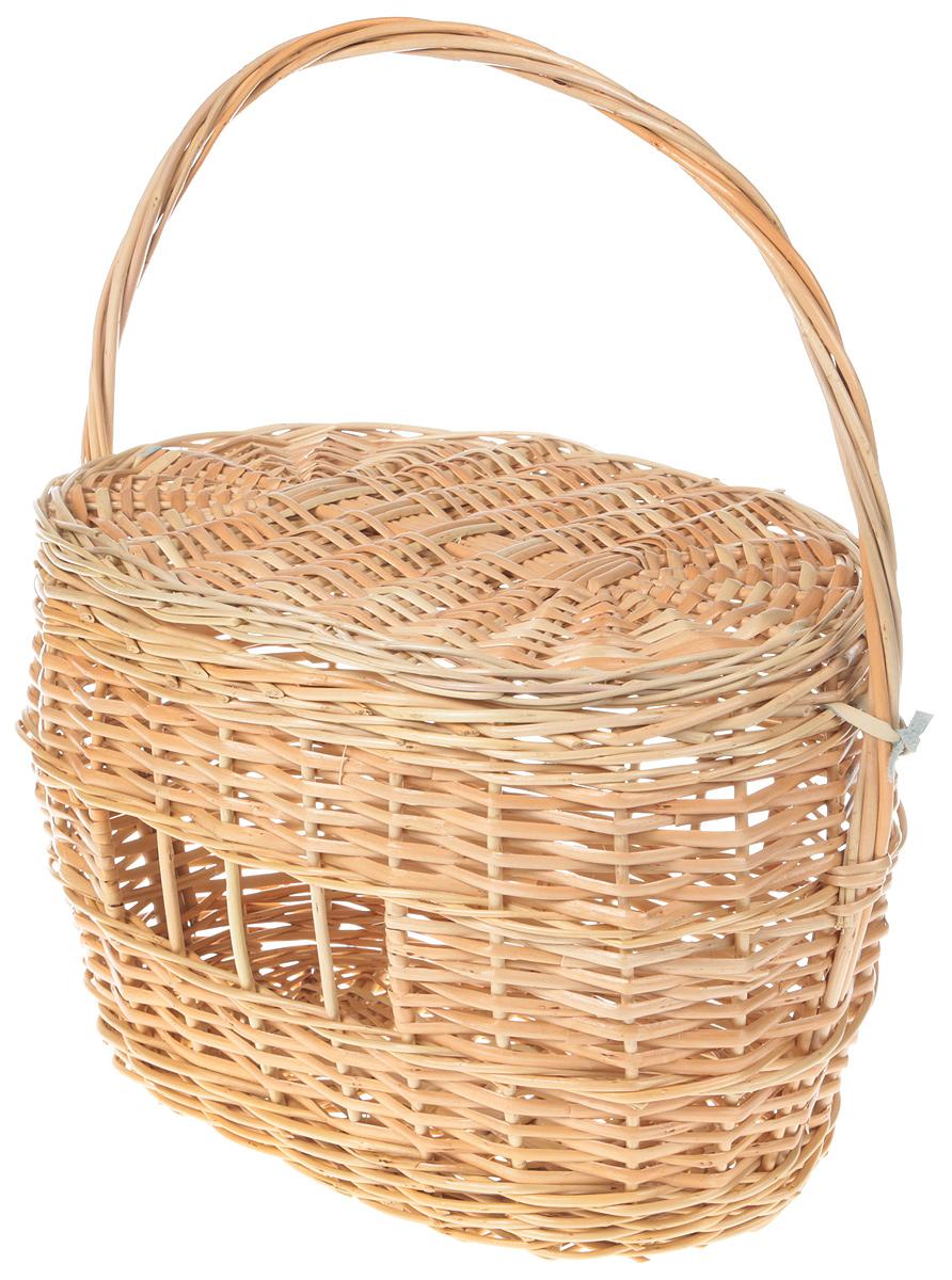 Корзина-переноска для кошки из лозы(плетеные дно и крышка) №1 38*26*42 плетеные корзины из лозы купить краснодар