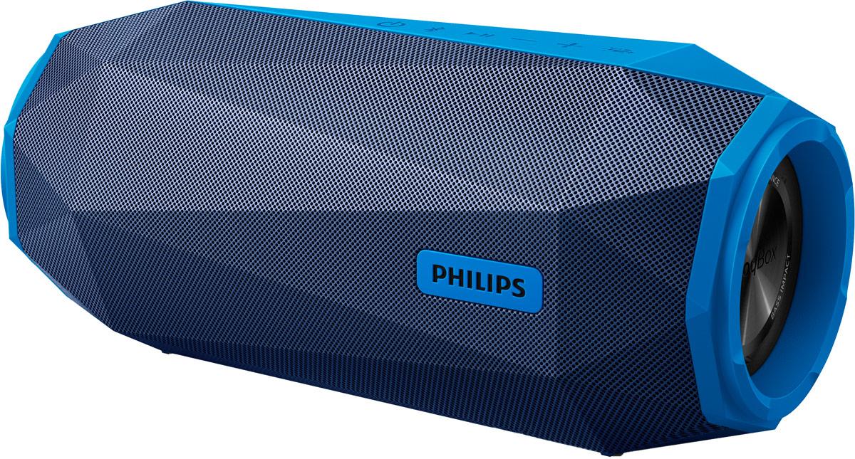 Philips SB500 ShoqBox, Blue портативная акустическая системаSB500A/00Philips SB500 ShoqBox с Bluetooth — это портативная акустическая система, подходящая для проведениявечеринок в любом месте. Непревзойденная громкость сочетается с эффектными басами, а светодиодныеиндикаторы мигают в такт музыке.Эффектные басы воспроизводятся благодаря двум направленным вперед излучателям АС и двойным басовымизлучателям по обеим сторонам изделия. Два больших высокоамплитудных излучателя улучшают звучаниебасов, обеспечивают максимальную громкость и общую чистоту звука, в то время как двойные басовыеизлучатели придают низким частотам дополнительное усиление и глубину.Яркий свет и динамичные басы создадут энергичную атмосферу. Уникальные многоцветные светодиодыпульсируют в такт музыке и делают звучание более впечатляющим, а вечеринку — особенной. Если выпредпочитаете танцы в темноте, просто нажмите на переключатель, чтобы выключить подсветку.Водонепроницаемость, ударопрочность и способность выдержать любые вечеринки — SB500 создана дляиспользования в любых условиях. С защитой от влаги по стандарту IPX7 ее можно удерживать под водой наглубине до 1 метра в течение 30 минут, поэтому АС можно спокойно брать с собой в душ или на пляж. Кроме того,SB500 выдержала тестирование в камере испытаний, которое доказало, что воспроизведение будетпродолжаться даже после падения или удара.Приготовьтесь к мощному воспроизведению с SHOQ! Одним нажатием кнопки включите встроенный режимSHOQ, который моментально устанавливает максимально возможное значение громкости. Заглушите всепосторонние шумы без малейшего искажения. SB500 обеспечивает качественное звучание и глубокие басы прилюбой громкости.Аудиовход позволяет воспроизводить файлы через аудиоразъем напрямую с портативных медиаплееров.Помимо возможности наслаждаться любимой музыкой в великолепном качестве на аудиосистеме,подключение через аудиовход еще и невероятно удобно — портативный MP3-плеер можно легко подсоединитьчерез аудиоразъем.Слушайте музыку 