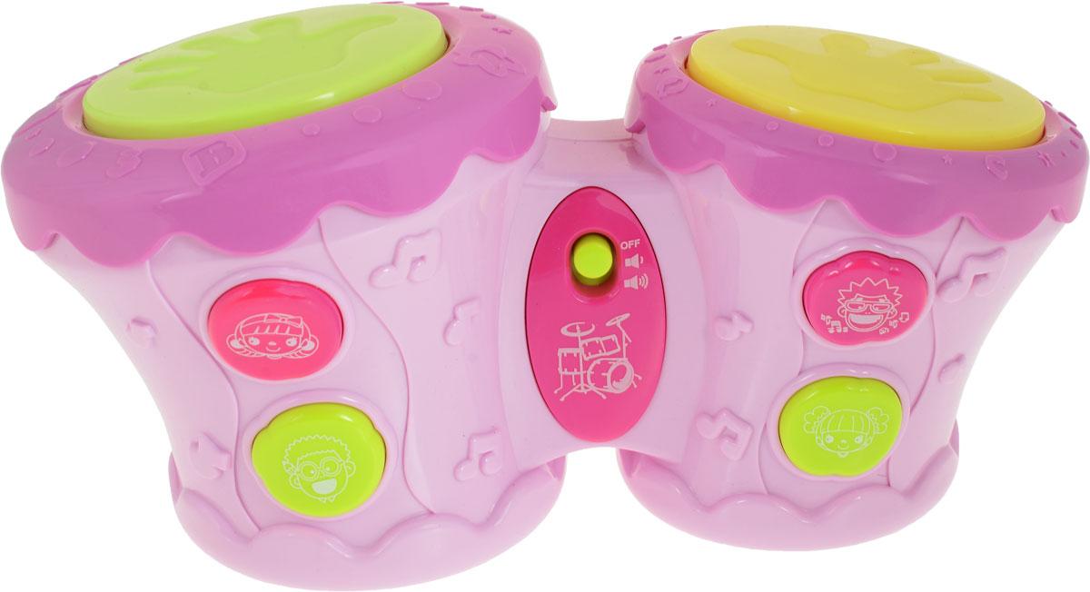 BebeLino Барабаны Бонго цвет розовый желтый - Музыкальные инструменты