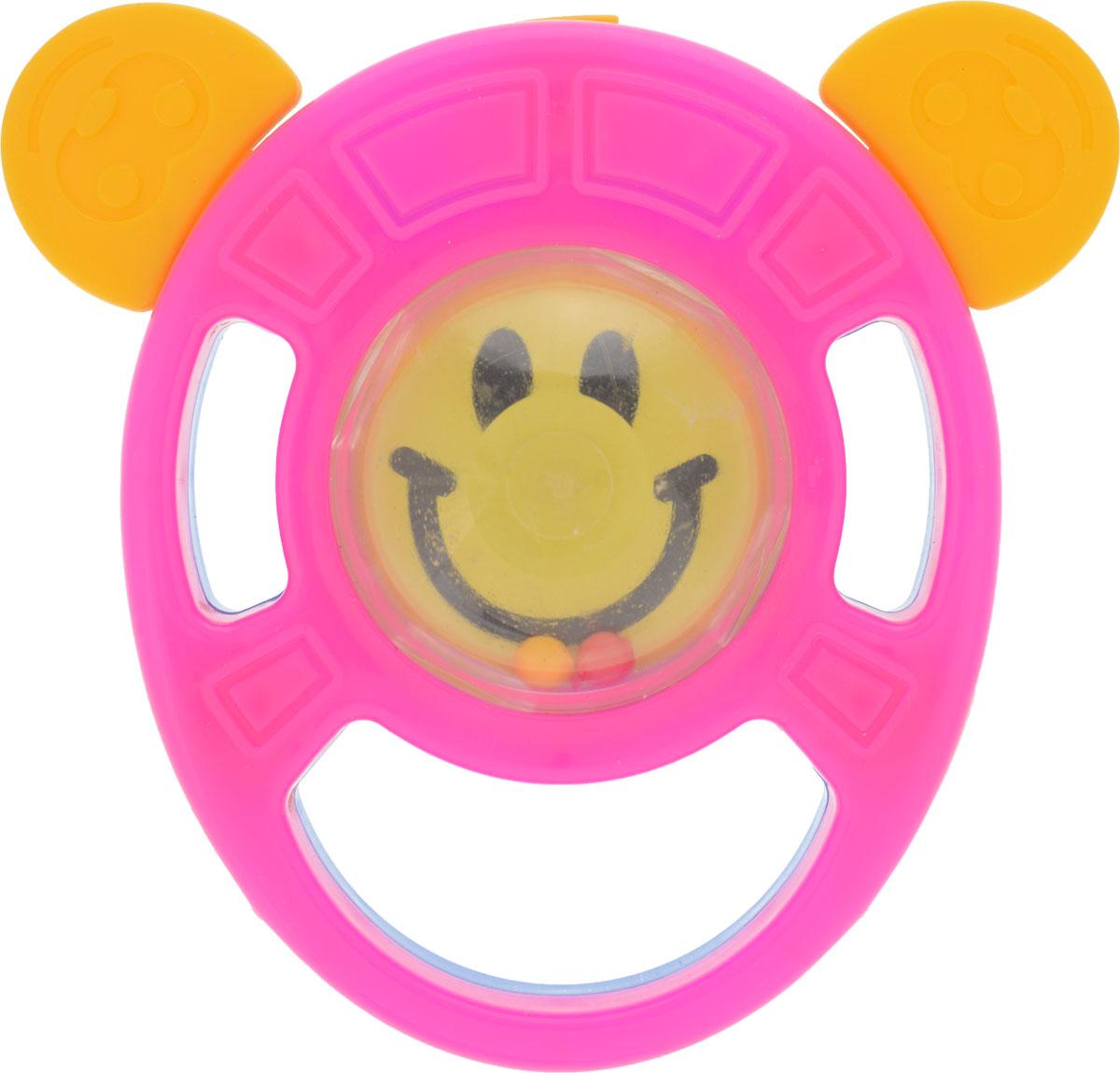 Пластмастер Погремушка-грызунок Смайлик цвет розовый