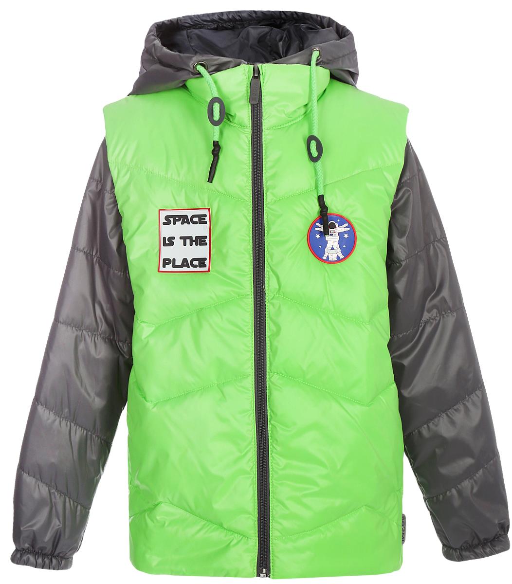 Куртка для мальчика Boom!, цвет: салатовый. 80016_BOB. Размер 10480016_BOBКуртка для мальчика Boom! выполнена из качественного материала. Куртка 3 в 1. В одной модели сразу три вещи: теплая куртка, стильная жилетка и толстовка из футера петельного с рукавами из ткани верха. Тепло, стильно и практично!