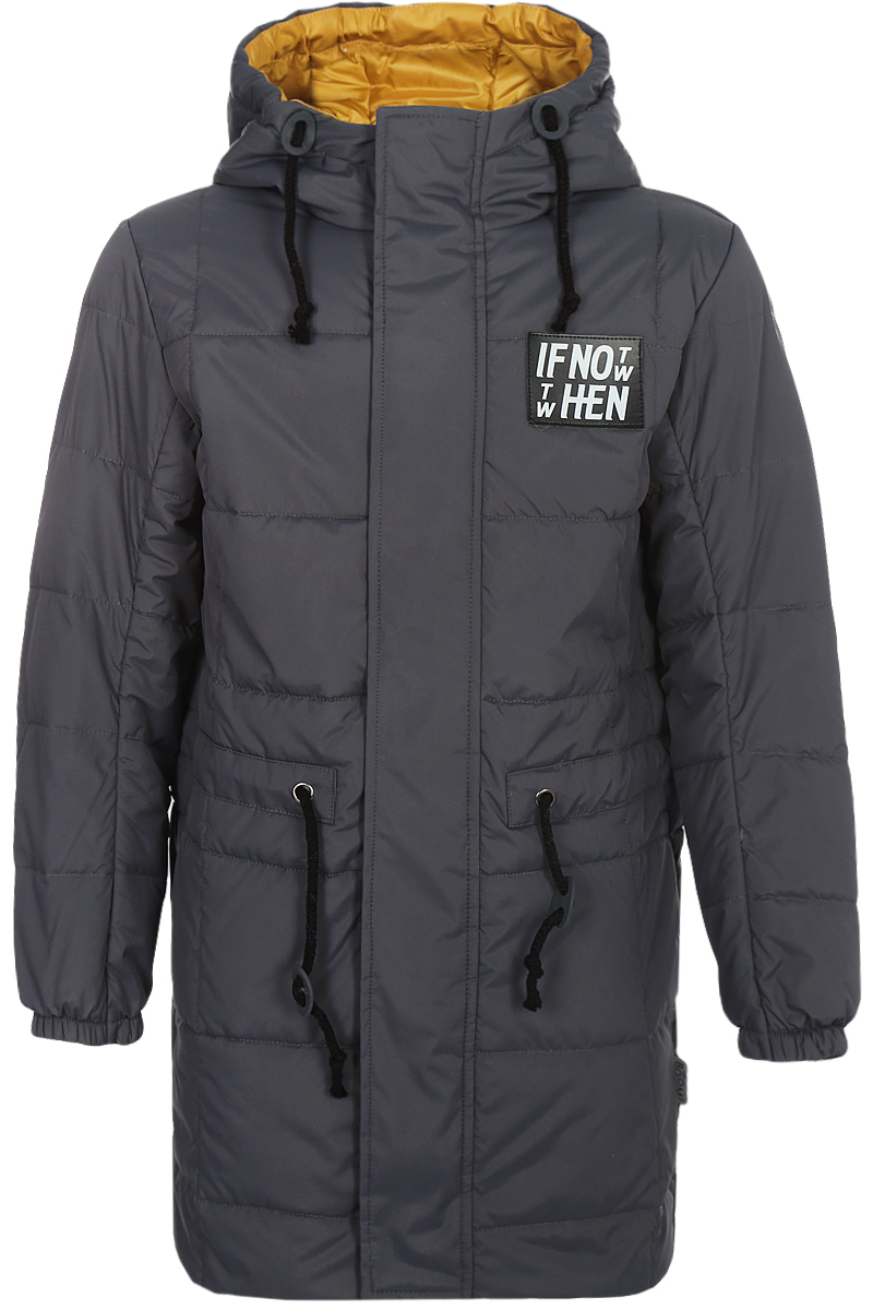 Пальто для мальчика Boom!, цвет: серый. 80041_BOB. Размер 14080041_BOBПальто для мальчика Boom! выполнено из полиэстера. Модель с капюшоном застегивается на молнию и липучки.