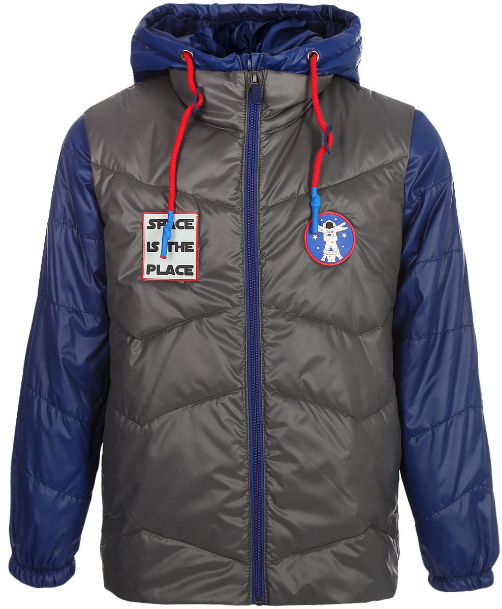 Куртка для мальчика Boom!, цвет: серый. 80016_BOB. Размер 12880016_BOBКуртка для мальчика Boom! выполнена из качественного материала. Куртка 3 в 1. В одной модели сразу три вещи: теплая куртка, стильная жилетка и толстовка из футера петельного с рукавами из ткани верха. Тепло, стильно и практично!