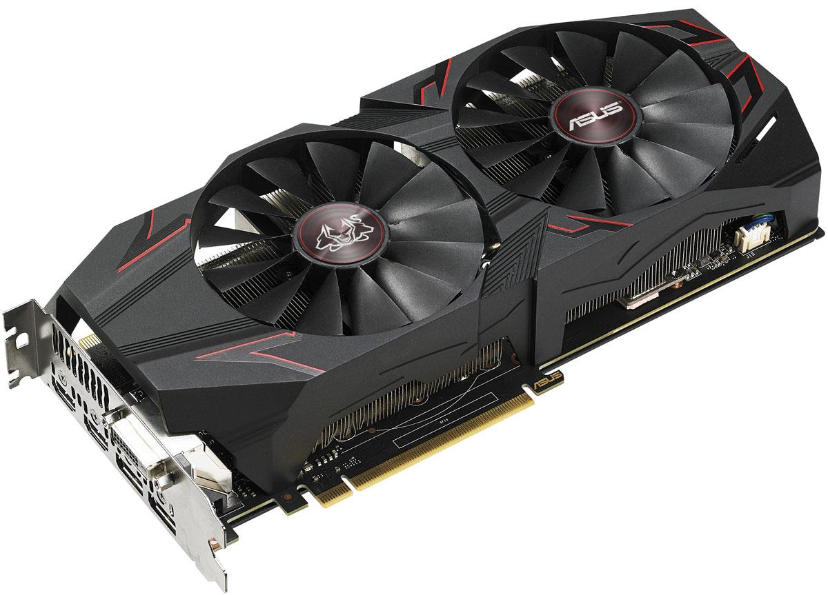 ASUS Cerberus GeForce GTX 1070 Ti Advanced Edition 8GB видеокартаCERBERUS-GTX1070TI-A8GASUS Cerberus GeForce GTX 1070 Ti – это высокопроизводительная видеокарта, созданная для игры в режиме нон- стоп. Она отличается повышенной надежностью, чему способствуют строгие тесты качества с привлечениемновейших компьютерных игр.Усилительная пластина на задней части устройства не только предотвращает изгиб печатной платы, но изащищает от физических повреждений. Украшенная ярким рисунком, она также является декоративным элементомв облике видеокарты.Высококачественные вентиляторы с оптимизированной геометрией крыльчатки, входящие в состав системыохлаждения данной видеокарты, усиливают воздушный поток и увеличивают статическое давление по сравнениюс кулером референсной модели. При этом они производят в три раза меньше шума.При малом и среднем уровне нагрузки, когда температура графического процессора остается ниже заданногоуровня, кулер будет охлаждать видеокарту в пассивном режиме, то есть при нулевом уровне шума отвентиляторов.Вентиляторы, используемые на видеокартах серии Cerberus GeForce GTX 1070 Ti, являются пыленепроницаемыми,соответствуя требованиям стандарта IP5X. Это означает их долговечность, что в свою очередь увеличивает срокслужбы всего устройства.Видеокарта Cerberus GeForce GTX 1070 Ti наделена двумя разъемами HDMI, что позволяет одновременноподключить и стандартный монитор, и систему виртуальной реальности.