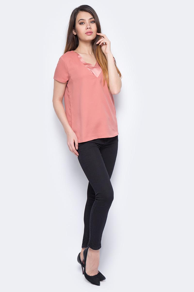 Блузка женская Vero Moda, цвет: розовый. 10189009_Old Rose. Размер XL (48)10189009_Old RoseЖенская блузка от Vero Moda выполнена из струящегося материала. Модель свободного кроя с короткими рукавами и V-образным вырезом горловины.