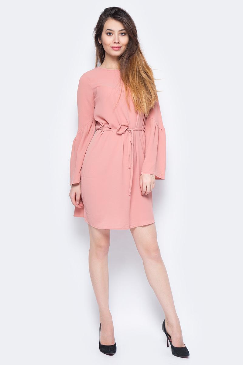 Платье Vero Moda, цвет: розовый. 10190660_Old Rose. Размер M (44)10190660_Old RoseПлатье от Vero Moda выполнено из струящегося материала. Модель с длинными свободными рукавами и круглым вырезом горловины на талии дополнена тонким текстильным пояском.