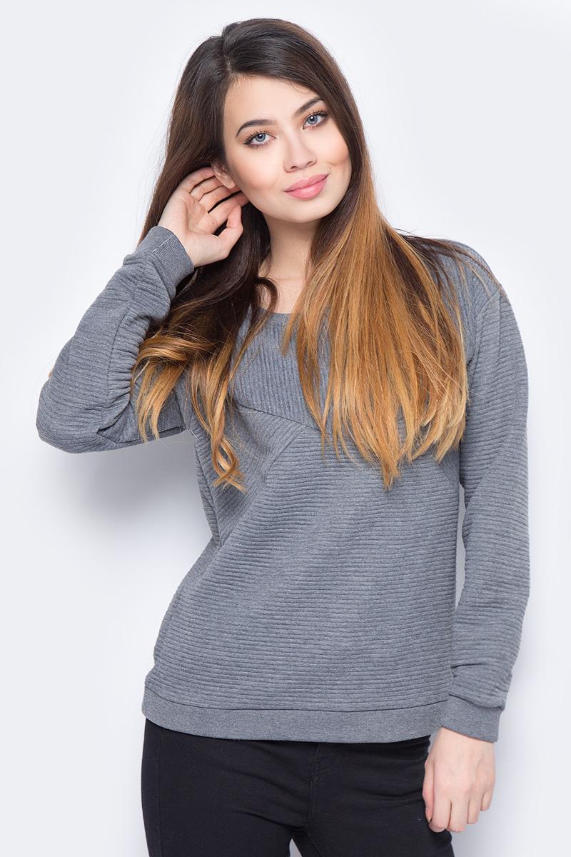 Свитшот женский Vero Moda, цвет: серый. 10190181_Medium Grey Melange. Размер M (44) джемпер женский vero moda цвет молочный 10189425 pristine размер m 44