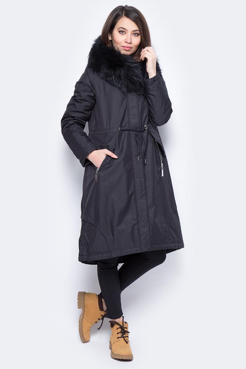 Куртка женская Clasna, цвет: черный. CW17D-109CH. Размер XXL (50)CW17D-109CH(701)Зимний женский пуховик от Clasna выполнен из высококачественного полиэстера с наполнителем из био-пуха. Удлиненная модель с длинными рукавами и капюшоном застегивается на молнию и имеет ветрозащитный клапан на кнопках, на талии дополнена затягивающимся шнурком. Капюшон, декорированный опушкой из искусственного меха, не отстегивается. По бокам пуховик дополнен прорезными карманами на молниях. Имеет внутренний накладной кармашек.