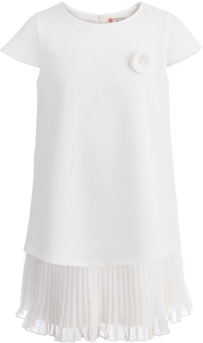 Платье для девочки Button Blue Party, цвет: белый. 118BBGP25070200. Размер 158118BBGP25070200Casual стиль царит во всем: даже праздничная одежда должна быть удобной, практичной и комфортной. Свободное нарядное платье от Button Blue с oversize силуэтом отвечает всем модным требованиям. Платье с рукавам-крылышками изготовлено из легкого материала на хлопковой подкладке и застегивается на скрытую застежку-молнию на спинке. В таком платье каждая девочка станет звездой любой вечеринки.