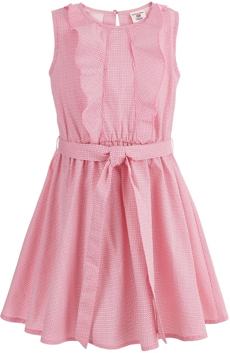 Платье для девочки Button Blue, цвет: розовый. 118BBGC25011216. Размер 152118BBGC25011216В весенне-летнем сезоне в моде свободные силуэты, удобные лаконичные формы. Платье без рукавов с круглым вырезом горловины на спинке застегивается на пуговицу. Такая модель обеспечит своей владелице только комфорт и приятные ощущения. Съемный текстильный пояс и декоративный элемент на платье делают его достаточно нарядным и подходящим для детских вечеринок.
