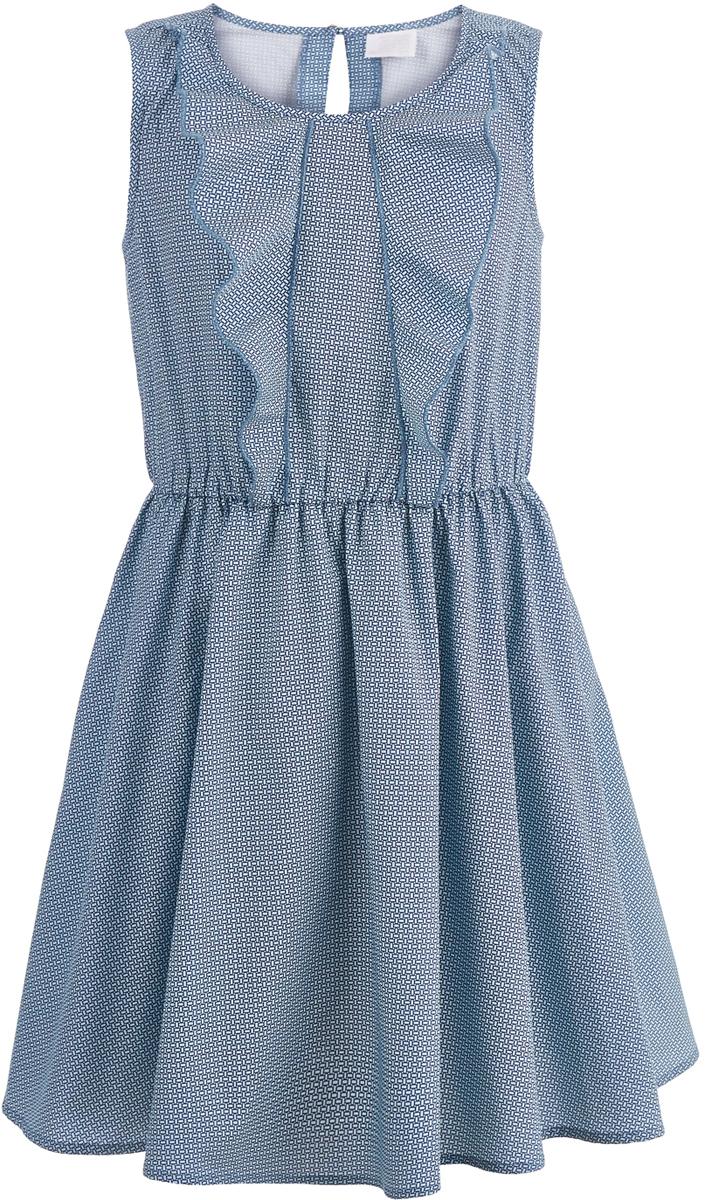 Платье для девочки Button Blue, цвет: темно-синий. 118BBGC25011016. Размер 146118BBGC25011016В весенне-летнем сезоне в моде свободные силуэты, удобные лаконичные формы. Платье без рукавов с круглым вырезом горловины на спинке застегивается на пуговицу. Такая модель обеспечит своей владелице только комфорт и приятные ощущения. Съемный текстильный пояс и декоративный элемент на платье делают его достаточно нарядным и подходящим для детских вечеринок.
