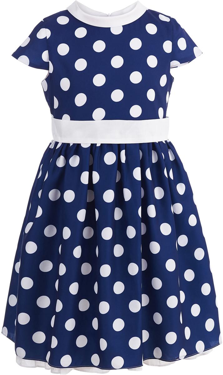 Платье для девочки Button Blue Party, цвет: темно-синий. 118BBGP25061004. Размер 146118BBGP25061004Нарядное платье в крупный горох от Button Blue, украшенное поясом с бантом, привлечет к вашей малышке внимание всех окружающих на детском празднике.Платье с рукавам-крылышками и отложным воротничком изготовлено из легкого материала на хлопковой подкладке и застегивается на скрытую застежку-молнию на спинке. Свободное и легкое, платье не стесняет движений, отлично сидит по фигуре и дарит только комфорт. В таком платье каждая девочка станет звездой любой вечеринки.