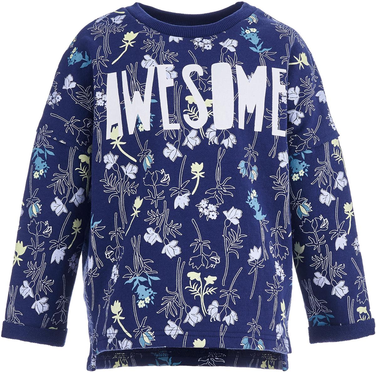 Свитшот для девочки Button Blue, цвет: темно-синий. 118BBGC16051014. Размер 116118BBGC16051014Яркий детский свитшот - идеальная весенняя одежда для девочки. Модель с длинными рукавами декорирована надписью, сделанной стильным шрифтом. Она может украсить любой образ и добавить ребенку позитива в самый прохладный день! Чтобы порадовать девочку, ей можно купить детский свитшот, отличающийся модным дизайном и удобным кроем.
