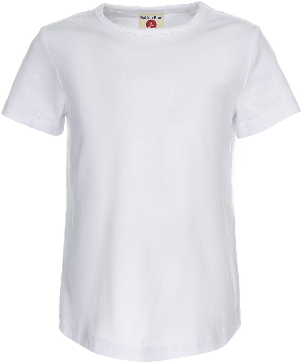 Футболка для девочки Button Blue, цвет: белый. 118BBGC12090200. Размер 128118BBGC12090200Однотонная футболка с коротким рукавом - практичная вещь, которая подойдет к любому образу. Футболка имеет классический силуэт. Она выполнена из мягкой трикотажной ткани, обеспечивающей легкость, свободу и приятные ощущения.