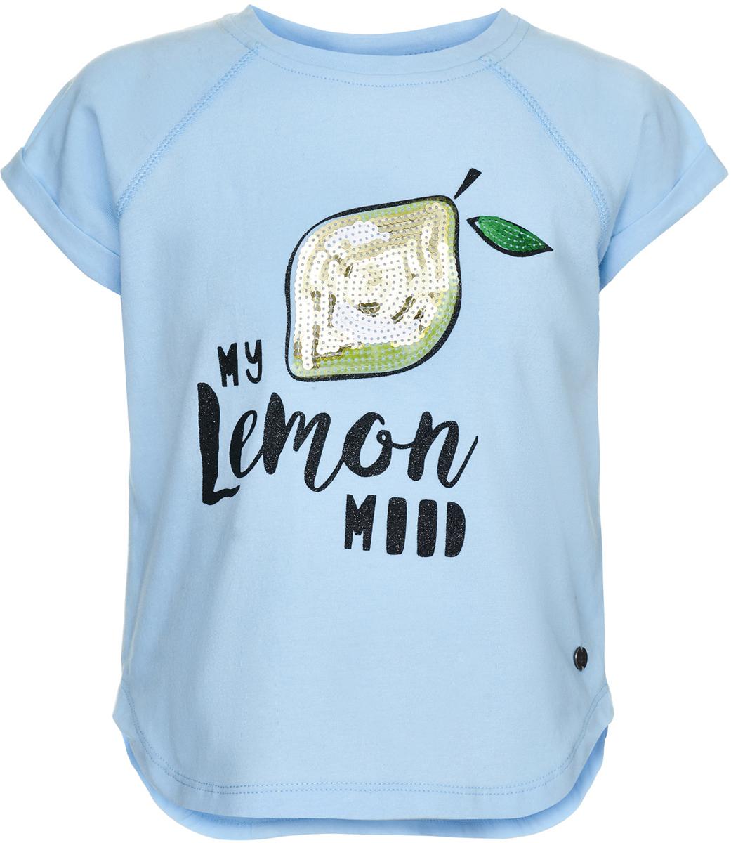 Футболка для девочки Button Blue, цвет: голубой. 118BBGC12021800. Размер 158118BBGC12021800Модная свободная футболка с коротким рукавом от Button Blue - то что нужно для девочки летом. Удобная форма и мягкая трикотажная ткань дарят ребенку комфорт, а привлекательный дизайн делает модель важной частью любого образа. Яркий принт с пайетками добавляет сочности и свежести!