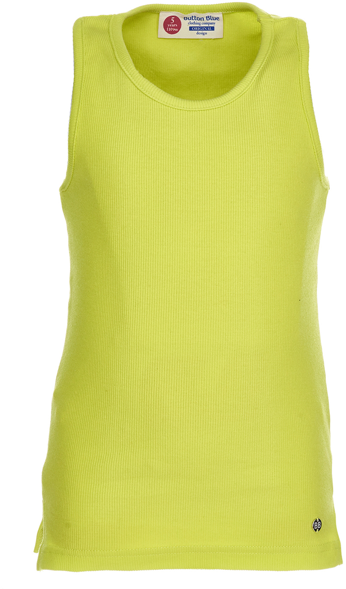 Майка для девочки Button Blue, цвет: салатовый. 118BBGC10012700. Размер 158118BBGC10012700Трикотажная майка для ребенка - та часть летнего гардероба, без которой не обойтись. Модель без рукавов с круглым вырезом горловины. Легкая и удобная, она прекрасно сочетается с шортами, юбками и множеством другой одежды. С любимой майкой можно не расставаться и в более прохладное время года, надевая ее под куртку или любую верхнюю одежду. Купить майку для девочки, значит приобрести базовую вещь, которая может стать основой множества образов.
