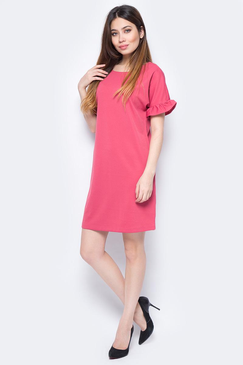 Платье Sela, цвет: розовый. Dks-117/1182-8131. Размер XS (42)Dks-117/1182-8131Стильное женское платье Sela выполнено из полиэстера и эластана. Модель прямого кроя с короткими рукавами будет отлично на вас смотреться.