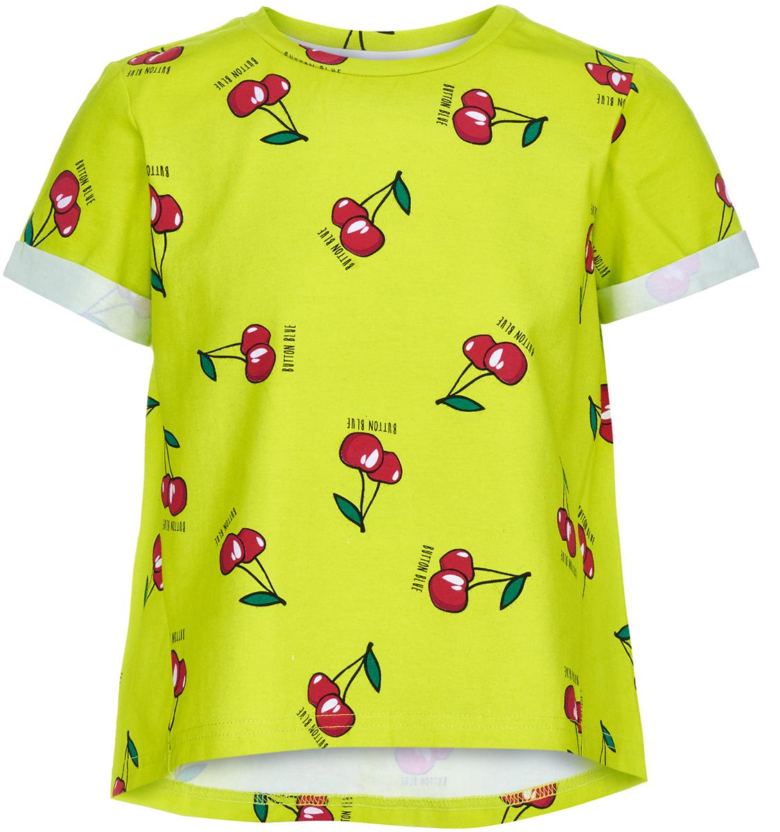 Футболка для девочки Button Blue, цвет: салатовый. 118BBGC12012719. Размер 152118BBGC12012719Легкая трикотажная футболка с коротким рукавом - идеальная одежда на лето. Она удобна, сочетается с любой другой одеждой и всегда поможет создать модный свежий образ. Яркие принты делают футболку непохожей на другие.