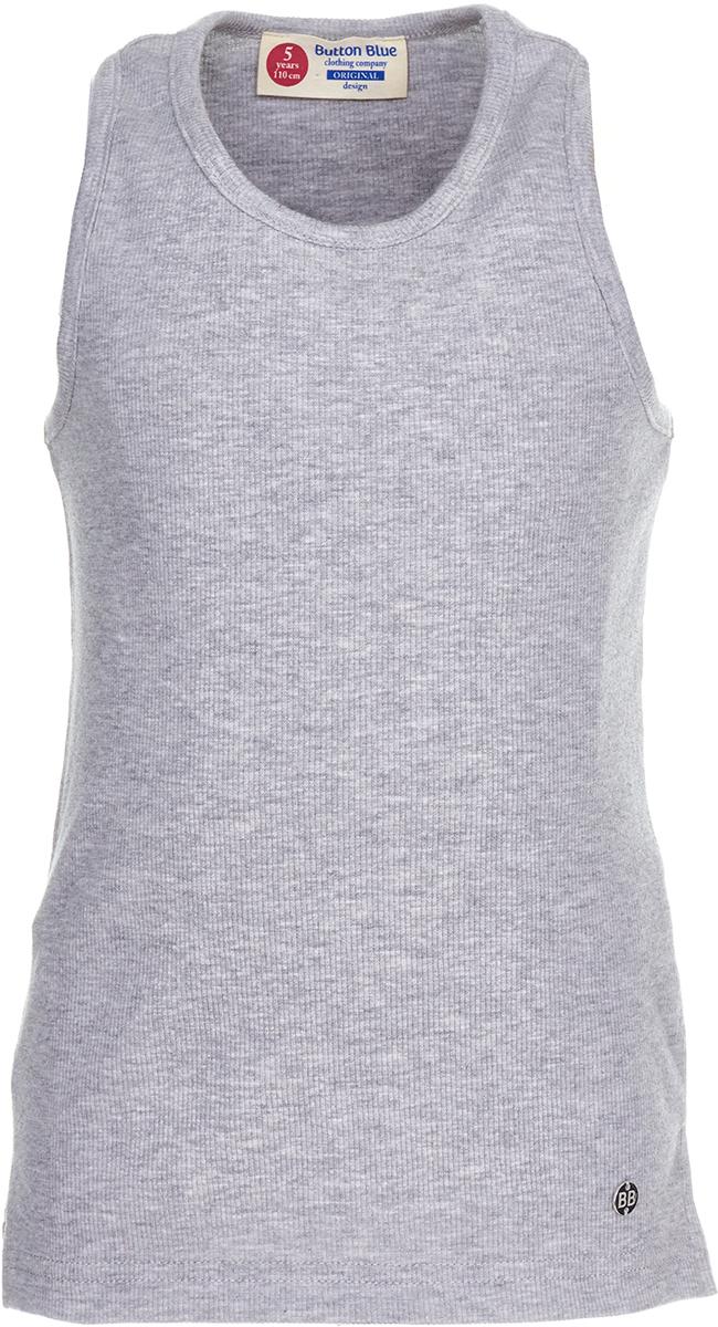 Майка для девочки Button Blue, цвет: серый. 118BBGC10011900. Размер 158118BBGC10011900Трикотажная майка для ребенка - та часть летнего гардероба, без которой не обойтись. Модель без рукавов с круглым вырезом горловины. Легкая и удобная, она прекрасно сочетается с шортами, юбками и множеством другой одежды. С любимой майкой можно не расставаться и в более прохладное время года, надевая ее под куртку или любую верхнюю одежду. Купить майку для девочки, значит приобрести базовую вещь, которая может стать основой множества образов.