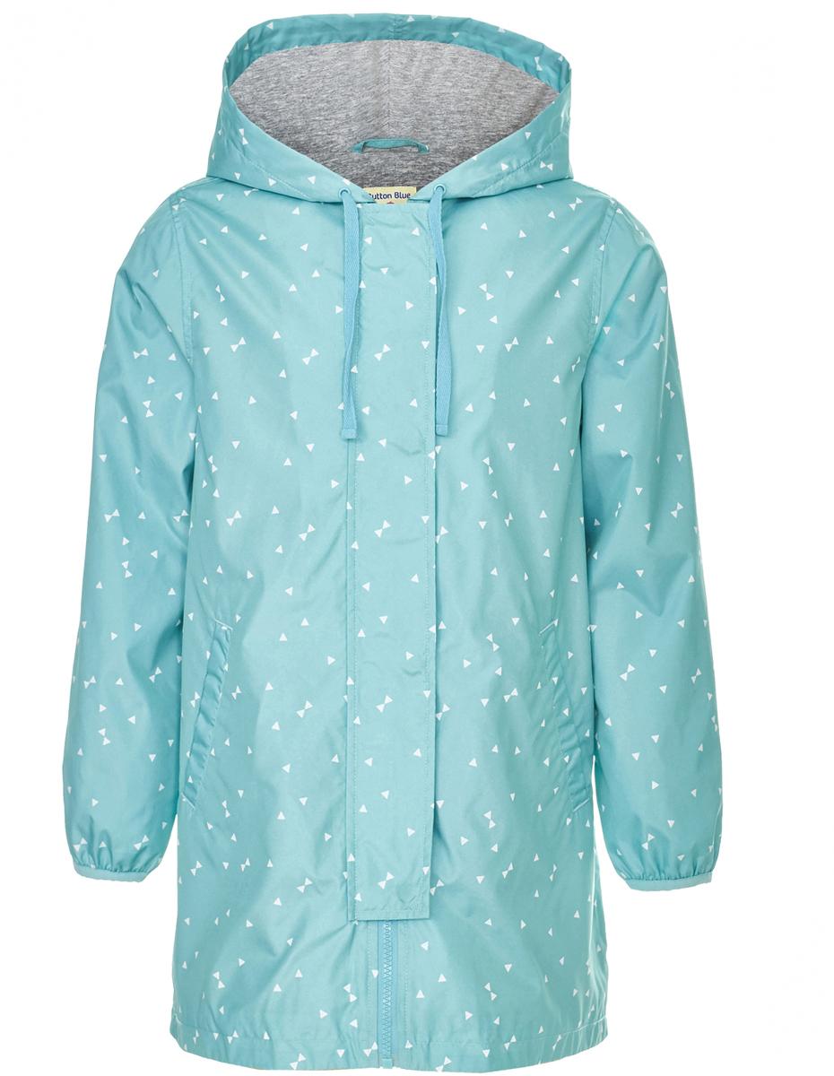 Ветровка для девочки Button Blue, цвет: бирюзовый. 118BBGC40033313. Размер 146118BBGC40033313Длинная ветровка для девочки - альтернатива классической куртке-ветровке, подходящая для дождливой прохладной погоды. Модель с длинными рукавами и капюшоном застегивается на молнии и дополнительно имеет ветрозащитный клапан. Купить дешево детскую ветровку от Button Blue - значит приобрести практичную и удобную вещь, которая покорит своими характеристиками и понравится дизайном. У куртки имеется подкладка из хлопка, благодаря чему обеспечивается дополнительный комфорт.