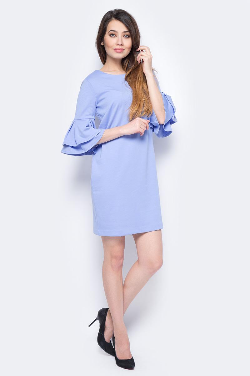 Платье Sela, цвет: голубой. Dks-117/1183-8131. Размер S (44)Dks-117/1183-8131Стильное женское платье Sela выполнено из качественного материала. Модель прямого кроя с волановыми рукавами калипсо подойдет для офиса, прогулок и дружеских встреч и станет отличным дополнением гардероба.