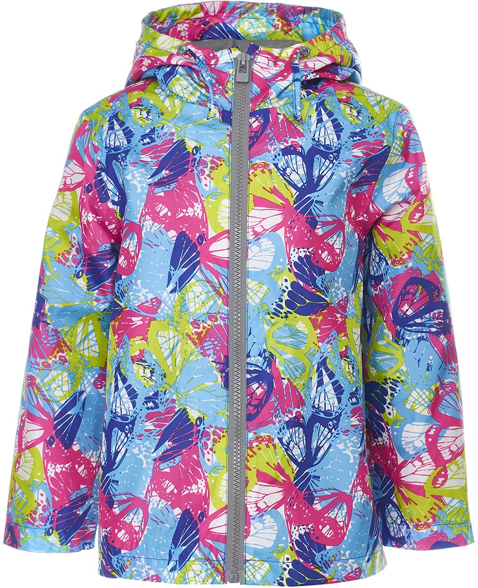 Ветровка для девочки Button Blue, цвет: голубой, розовый. 118BBGC40041213. Размер 116118BBGC40041213Яркая и позитивная куртка-ветровка всегда поднимет настроение, даже в самый ветреный и дождливый день! Модель с длинными рукавами и капюшоном застегивается на молнию. Куртка может похвастать не только модным дизайном и оригинальным рисунком, она удобная, свободная и дарит своей владелице максимальный комфорт. Отличный вариант для того, кто ищет качественную вещь по выгодной цене.