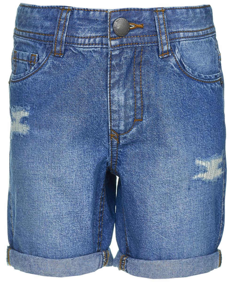 Шорты для мальчика Button Blue, цвет: синий. 118BBBC6004D100. Размер 122118BBBC6004D100Джинсовые шорты никогда не выходят из моды! Шорты от Button Blue выполнены из мягкой джинсовой ткани с эффектом потертостей и разрывов. Модель идеально подходит для повседневного ношения, активного отдыха или прогулок. Средняя длина шорт и обилие карманов делает их очень практичными и удобными, а классический дизайн позволяет сочетать шорты с какой угодно одеждой.