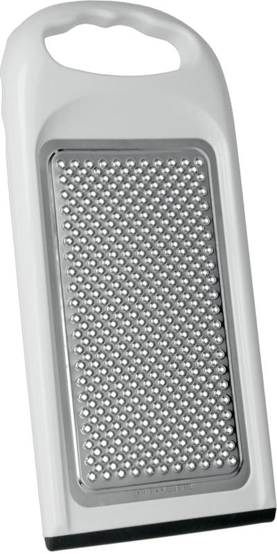 Терка для сыра имеет пластиковый корпус, противоскользящее покрытие, лезвие из нержавеющей стали.