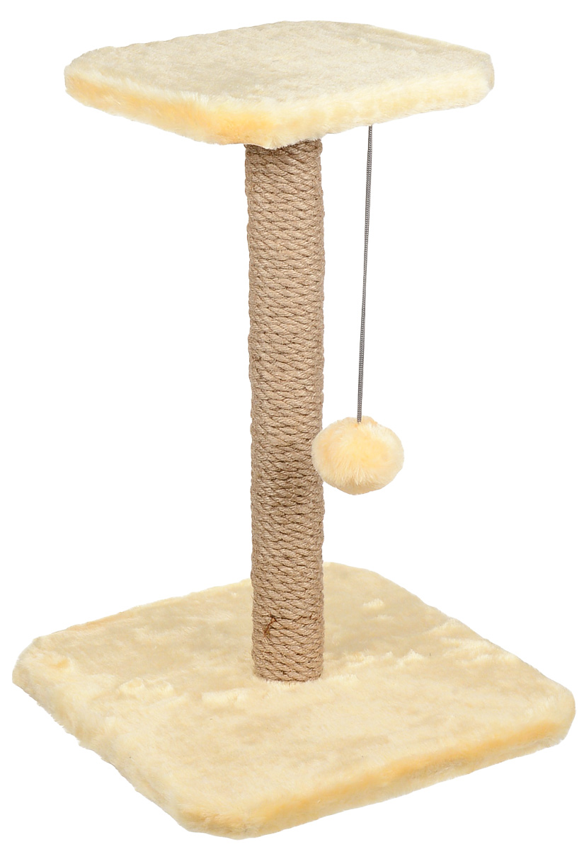 Когтеточка Велес Столбик, с полкой и игрушкой, цвет: бежевый, 35 х 35 х 50 см когтеточка столбик beeztees lesley цвет серый 35 х 35 х 60 см