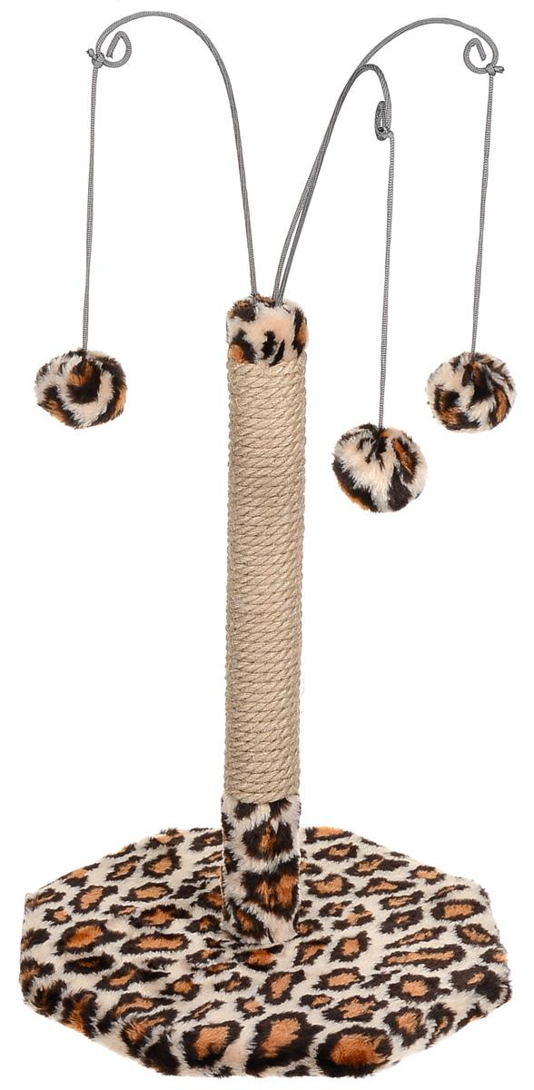 Когтеточка  Велес , с тремя игрушками, цвет: бежевый, коричневый, черный, 35 х 35 х 53 см - Когтеточки и игровые комплексы