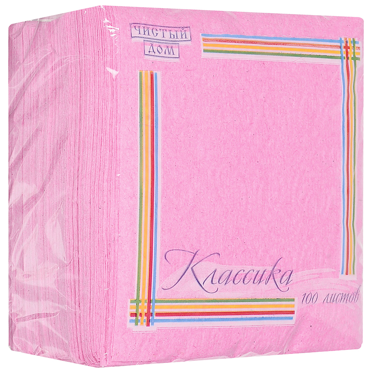 Салфетки Чистый дом Классика, однослойные, цвет: розовый, 24 х 24 см. 100 шт салфетки бумажные familia однослойные цвет белый 24 см х 24 см 100 шт