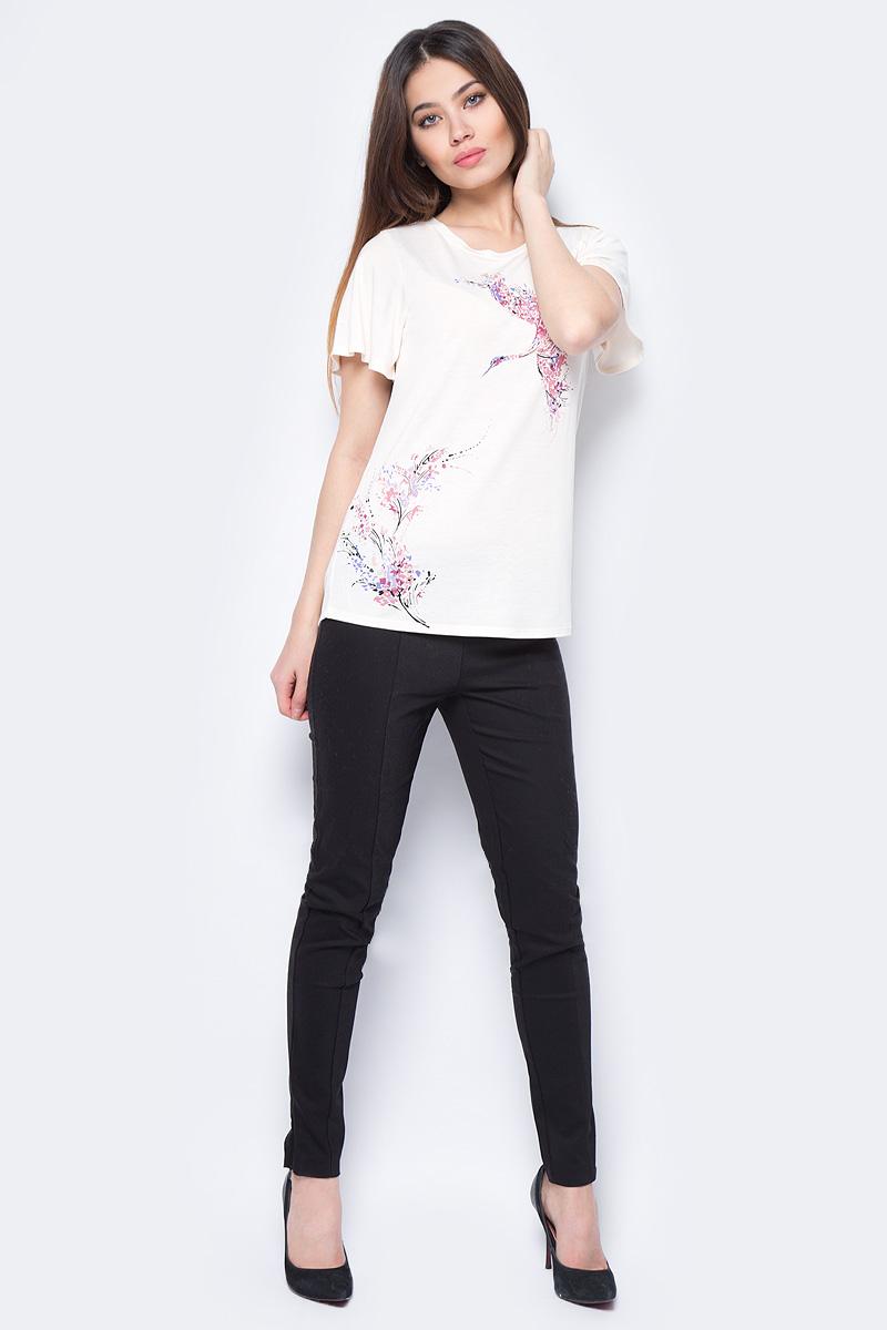 Футболка женская Sela, цвет: розовый. Ts-111/793-8131. Размер XS (42)Ts-111/793-8131Модная женская футболка Sela выполнена из вискозы с добавлением полиэстера. Модель скруглым вырезом горловины и короткими рукавами оформлена красочным принтом.