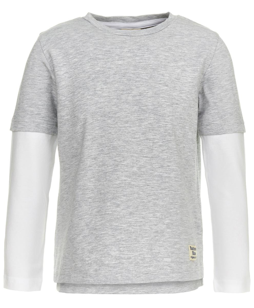 Футболка с длинным рукавом для мальчика Button Blue, цвет: серый. 118BBBC12061900. Размер 146118BBBC12061900Чтобы порадовать ребенка, разбирающегося в моде, ему можно купить футболку от Button Blue с надписями на спине. Модель, изготовленная из эластичного хлопка, имитирует две футболки, надетые друг на друга, что позволяет добиться интересного эффекта минимумом усилий. Светлый цвет основы прекрасно сочетается с более темным цветом верхней футболки и выгодно его подчеркивает.