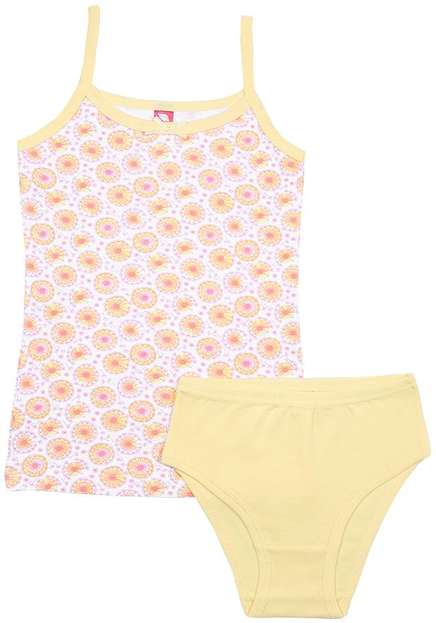 Комплект белья для девочки Cherubino: майка, трусы, цвет: желтый. CAJ 3336. Размер 152/158 цена