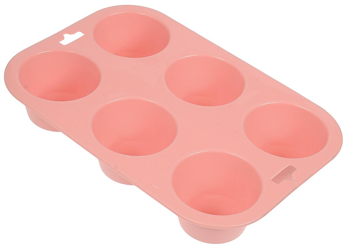 Форма для выпечки Paterra, силиконовая, цвет: персиковый, 6 ячеек402-438_персиковыйФорма для выпечки Paterra, силиконовая, цвет: персиковый, 6 ячеек