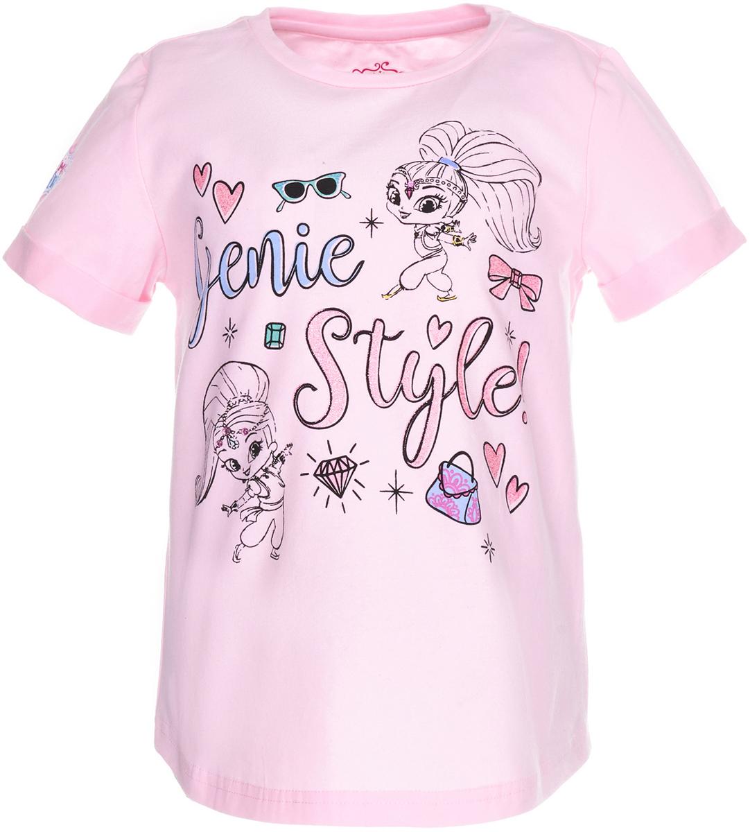 Футболка для девочки Button Blue Шиммер и Шайн, цвет: розовый. 118BBGL12011200. Размер 128118BBGL12011200Легкая трикотажная футболка с изображением любимой героини - лучшая летняя одежда! Модель от Button Blue посвящена мультсериалу Шиммер и Шайн, рассказывающем о волшебных приключениях двух близняшек-джиннов. Рисунок на футболке выполнен в приятной акварельной стилистике, создающей необычный и интересный эффект.Футболка с коротким рукавом и удлиненной спинкой выполнена из эластичного хлопка и имеет классический силуэт.