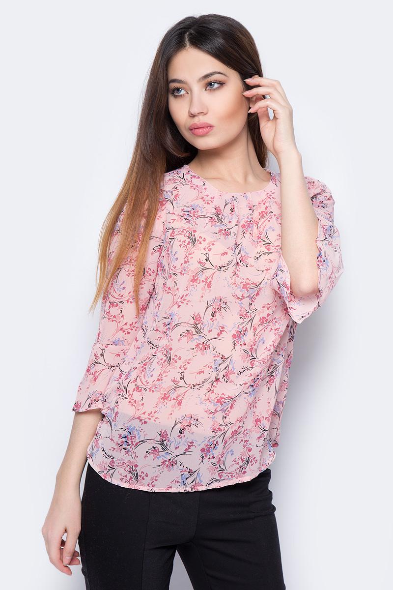 Блузка Sela, цвет: розовый. Tw-112/1069-8131. Размер 48Tw-112/1069-8131Стильная женская блузка Sela выполнена из 100% полиэстера. Модель с круглым вырезом горловины и рукавами 3/4.