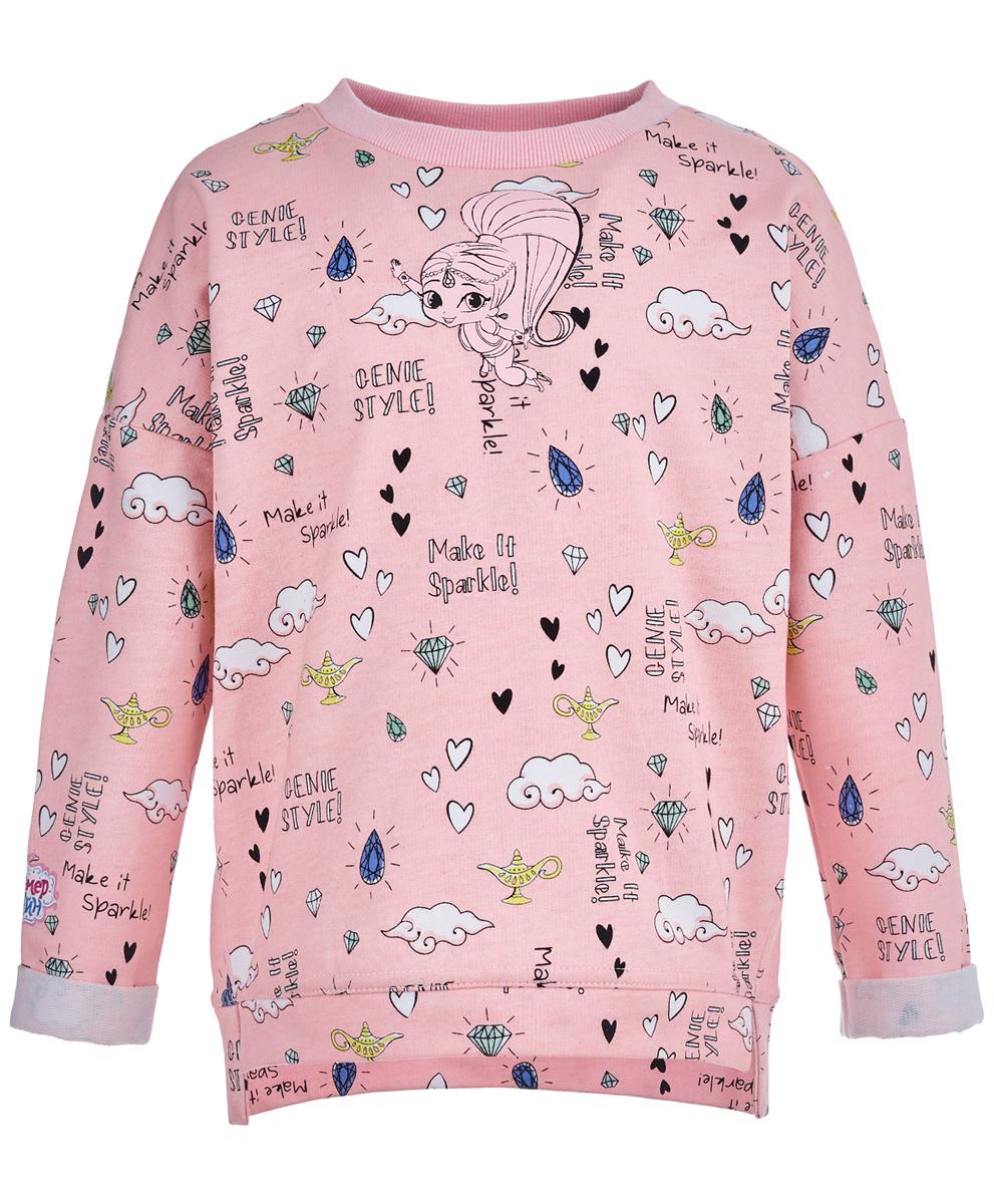Толстовка для девочки Button Blue, цвет: розовый. 118BBGL16011200. Размер 116118BBGL16011200Если девочка без ума от сказок, магии и волшебства, ей можно купить недорогую детскую толстовку розового цвета, оформленную в стиле мультсериала Шиммер и Шайн! Главные героини серий - две близняшки-джинны, которые попадают в невероятные приключения. Посвященный им детский свитшот отличается стильными принтами, модным оформлением и удобной формой.