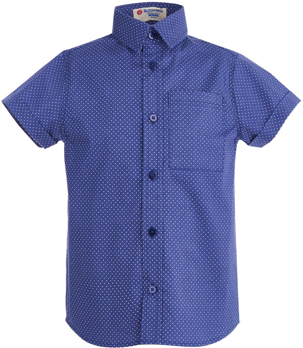 Рубашка для мальчика Button Blue, цвет: темно-синий. 118BBBC23031004. Размер 158 рубашка в мелкий горошек