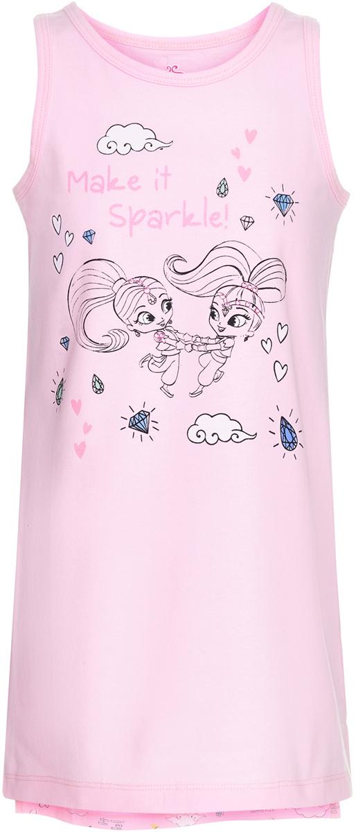 Ночная сорочка для девочки Button Blue Шиммер и Шайн, цвет: розовый. 118BBGL98021200. Размер 140118BBGL98021200Ночная сорочка в виде большой свободной футболки от Button Blue - идеальная одежда для сна. В ней так уютно, комфортно и приятно! А чтобы порадовать девочку еще больше, подарите ей ночную сорочку с изображением Шиммер и Шайн - близняшек-джиннов из популярного мультфильма. Рисунки выполнены в технике акварели, что делает их особенно нежными и милыми. Сорочка изготовлена из хлопка с эластаном - гигиеничного, устойчивого к разрывам материала.