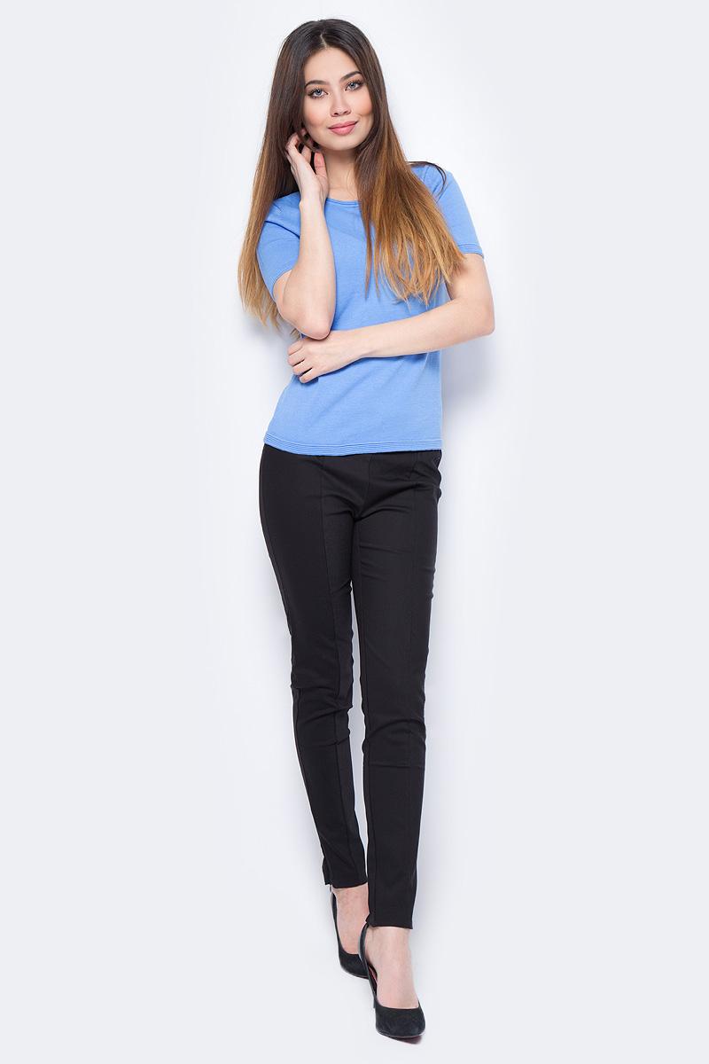 Джемпер женский Sela, цвет: голубой. JRs-114/1299-8111. Размер S (44)JRs-114/1299-8111Стильный джемпер Sela изготовлен из хлопка. Модель имеет круглый вырез горловины и короткие рукава. Джемпер выполнен в однотонном дизайне.