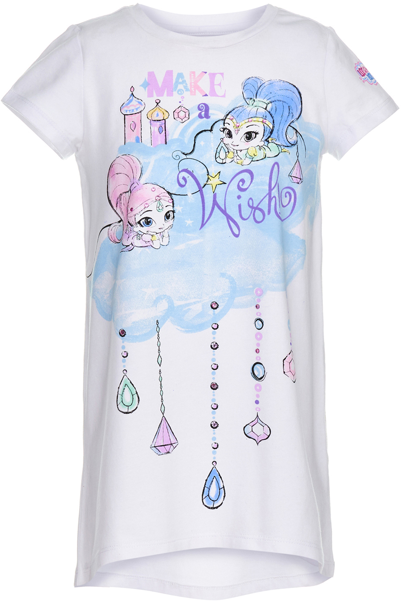 Пижама для девочки Button Blue, цвет: белый. 118BBGL98010200. Размер 140118BBGL98010200Ночная сорочка в виде большой свободной футболки - идеальная одежда для сна. В ней так уютно, комфортно и приятно! А чтобы порадовать девочку еще больше, ей можно купить недорогую детскую ночную сорочку с изображением Шиммер и Шайн - близняшек-джиннов из популярного мультфильма. Рисунки выполнены в технике акварели, что делает их особенно нежными и милыми. Сорочка изготовлена из хлопка с эластаном - гигиеничного, устойчивого к разрывам материала.
